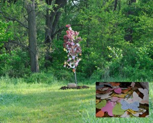 LOK Wishing Tree located in La Porte, Indiana. INSET PHOTO: Many wishes and dreams scattered beneath the tree.